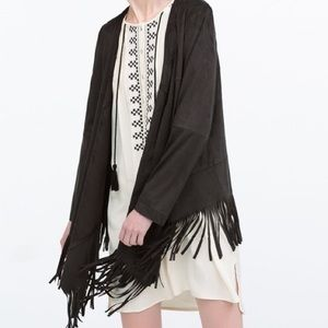 SUEDE FEEL JACKET WITH FRINGE